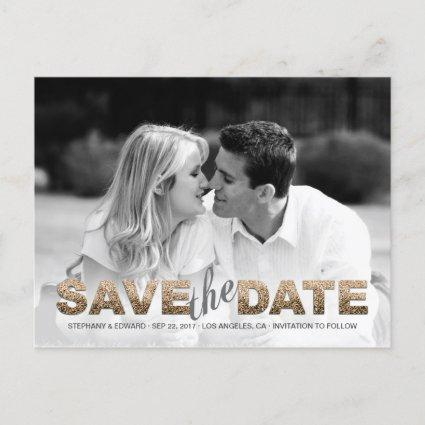 Faux Gold Glitter Save the Date Photo