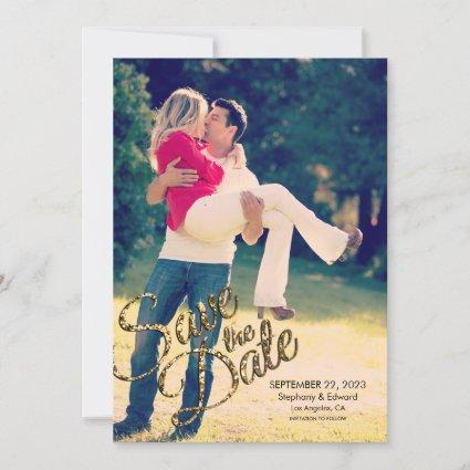 Faux Gold Glitter Save The Date Wedding Reminder