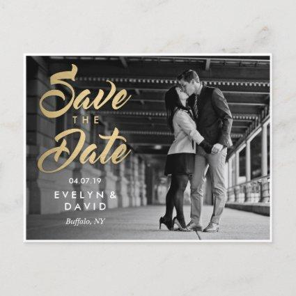 Faux Gold Modern Save the Date Cards