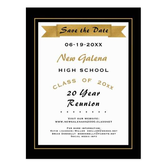 Faux Gold School Class Reunion Save the Date Cards