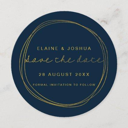 Faux Gold Scribble Circle Save the Date
