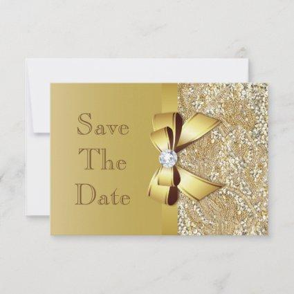 Faux Gold Sequins and Bow Wedding Save The Date