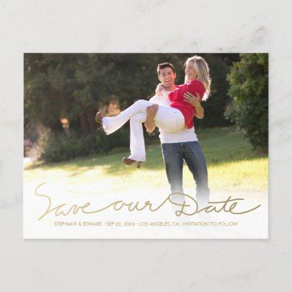 Faux Gold White Save our Date Photo