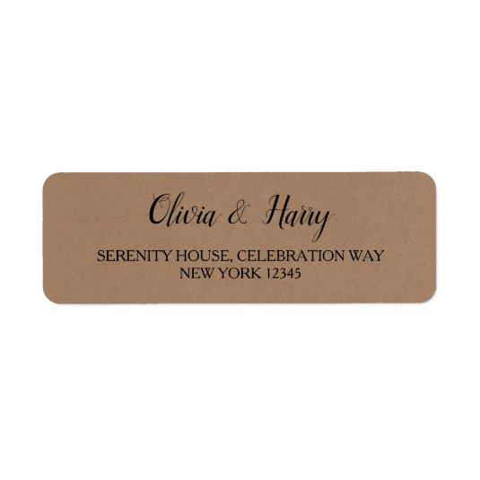 faux kraft wedding return address labels save the date cards