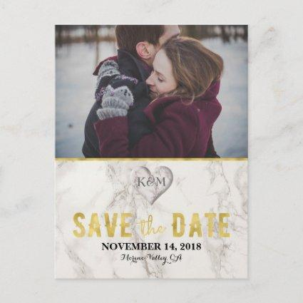 Faux Marble and Gold Elegant Save the Date Announcement