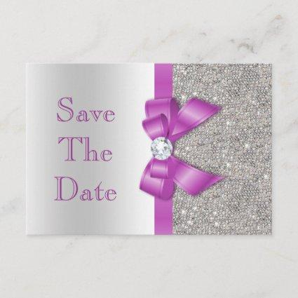 Faux Purple Bow Diamonds Save The Date Baby Shower