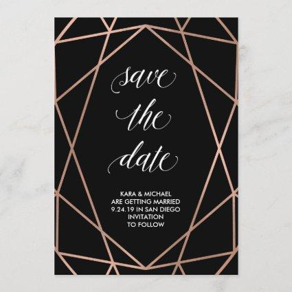 Faux Rose Gold Geometric on Black   Save the Date