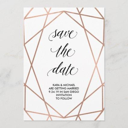 Faux Rose Gold Geometric on White | Save the Date