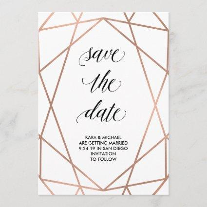 Faux Rose Gold Geometric Save the Date | Photo