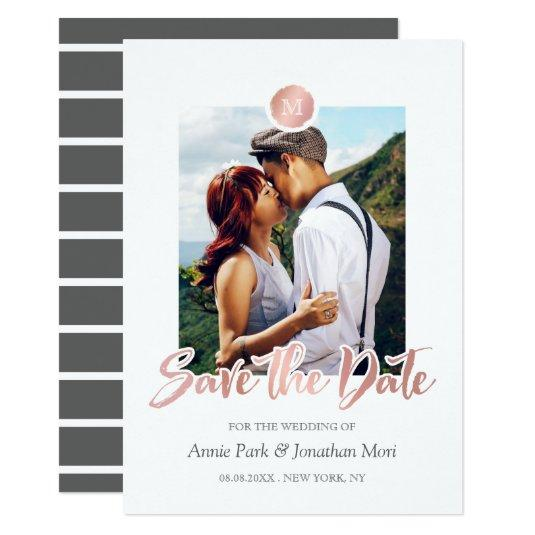 Faux Rose Gold & Gray Monogram Save the Date Card