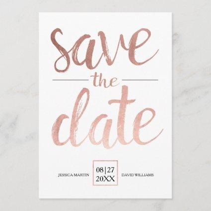 Faux Rose Gold Save the Date