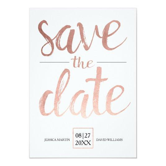 Faux Rose Gold Save the Date Card
