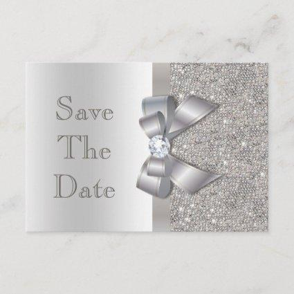Faux Silver Bow Diamonds Save The Date Baby Shower