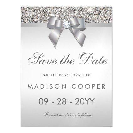 Faux Silver Sequins Bow Save The Date Baby Shower Magnetic Invitation