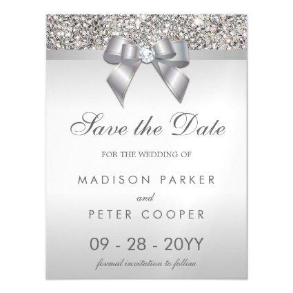 Faux Silver Sequins Bow Save The Date Wedding Magnetic Invitation