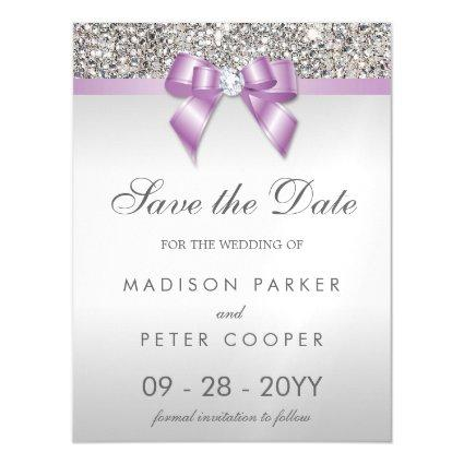 Faux Silver Sequins Lilac Bow Save The Date Magnetic Invitation