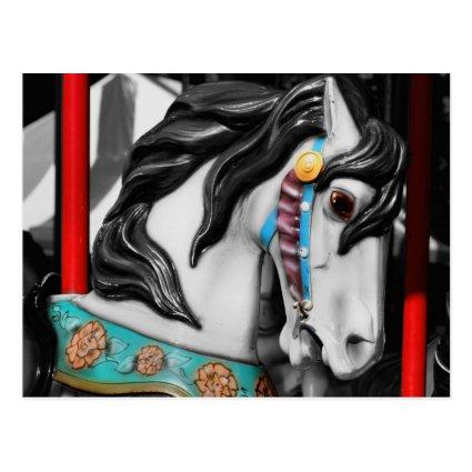 Fiery Carousel Horse Black White Cards