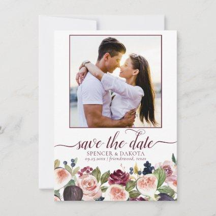 Fig Blossoms | Elegant Moody Floral Wedding Photo Save The Date