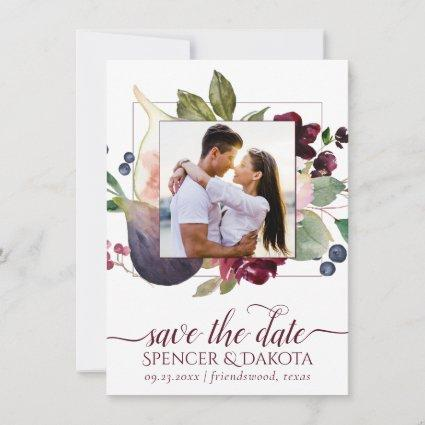 Fig Blossoms | Vintage Moody Floral Wedding Photo Save The Date