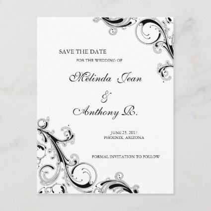 Filigree Swirl Black w/White Save the Date