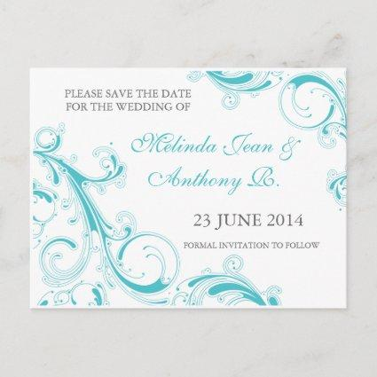 Filigree Swirl Blue Curacao Save the Date Announcements Cards