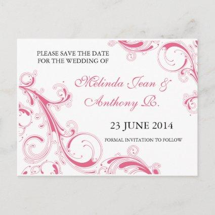 Filigree Swirl Pink Save the Date Announcements Cards