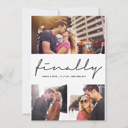 Finally Calligraphy Stylish Script Modern 3 Photo Save The Date