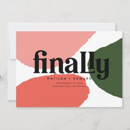 Finally modern abstract graphic red, pink + green announcement