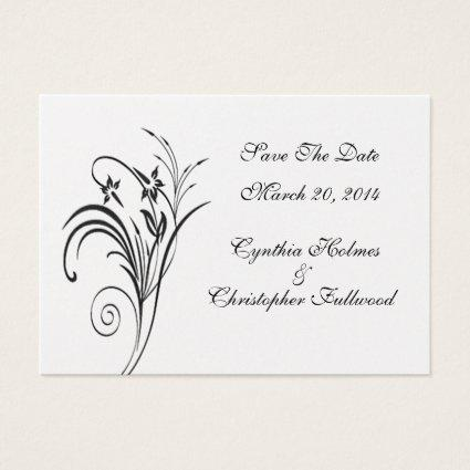 Fine Floral Metallic Gold & Black Save The Date