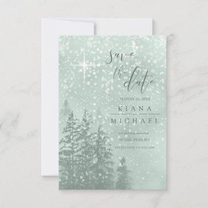 Fir Trees Winter Save the Date Green ID543