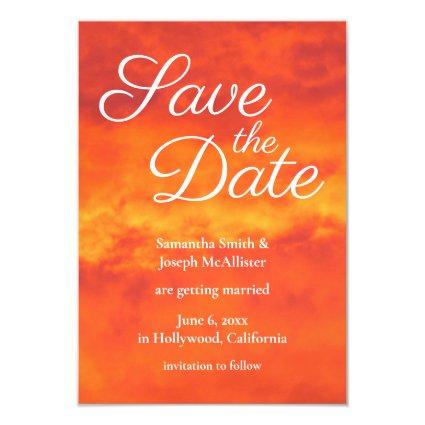 Fire Orange Cloudy Sunset Photo Save the Date Invitation