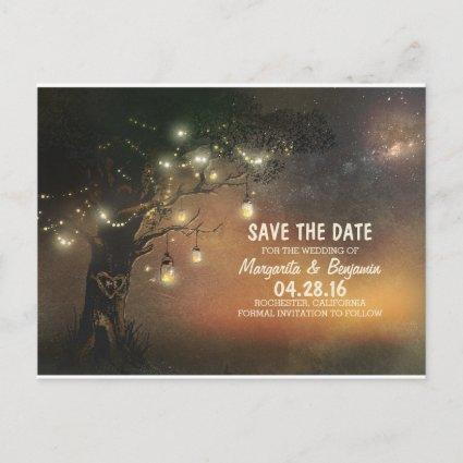 Fireflies mason jar tree rustic save the date announcement
