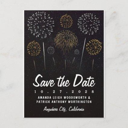 Fireworks Themed Black Gold Save The Date Cards