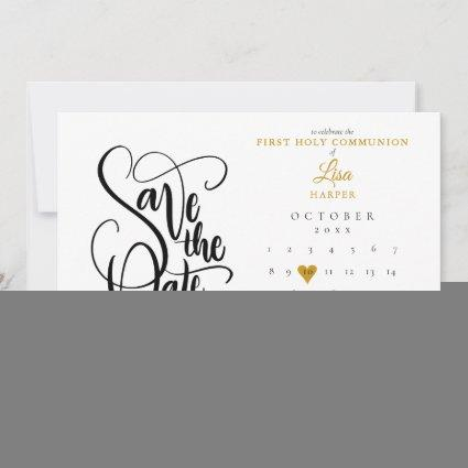 First Holy Communion Calendar Gold Heart Save The Date