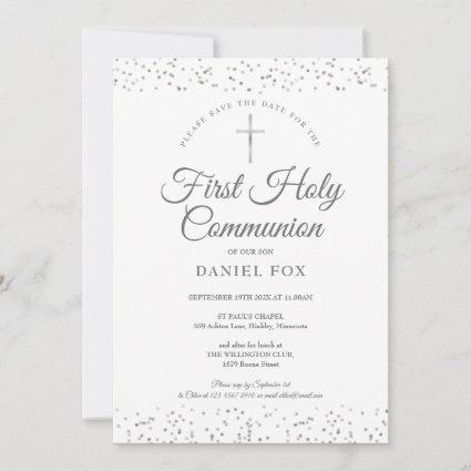 First Holy Communion Silver Stardust Save The Date