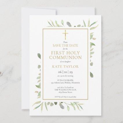 First Holy Communion Watercolor Greenery Save The Date