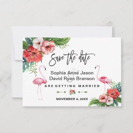 Flamingo Tropical Floral Handwriting Save The Date