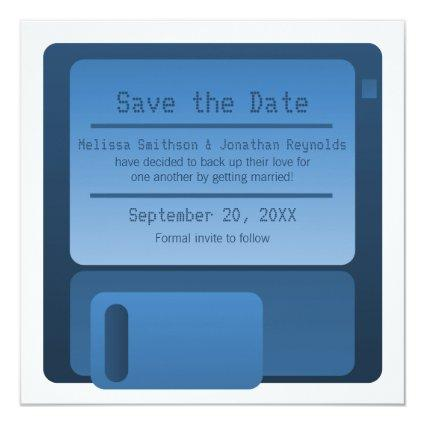 Floppy Disc Save the Date Announcement, Dark Blue Invitation