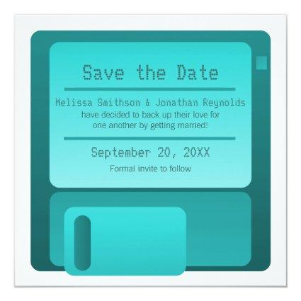 Floppy Disc Save the Date Announcement, Turquoise Invitation