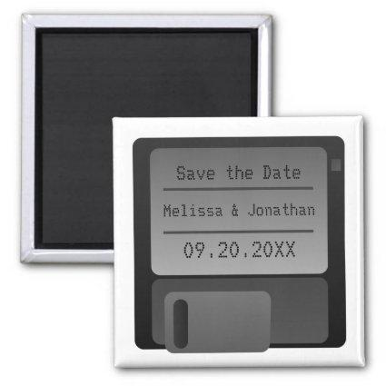 Floppy Disc Save the Date Magnet, Gray Magnet