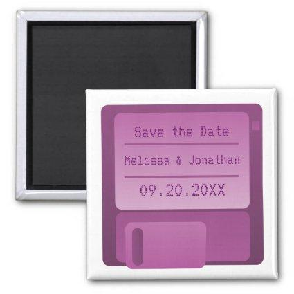 Floppy Disc Save the Date Magnet, Purple Magnet