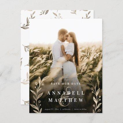 Floral Ampersand Wreath Champagne Foil Full Photo Save The Date