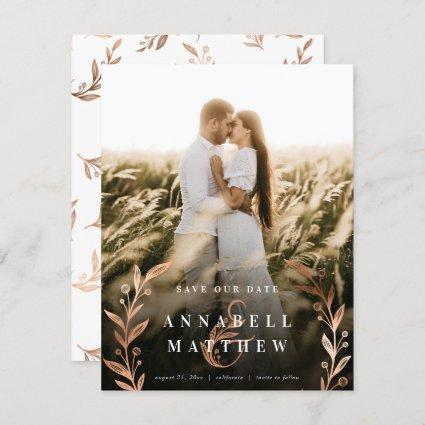 Floral Ampersand & Wreath Copper Foil Full Photo Save The Date