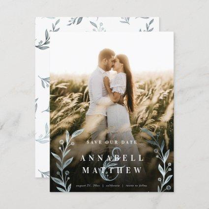 Floral Ampersand Wreath Dusty Blue Foil Full Photo Save The Date