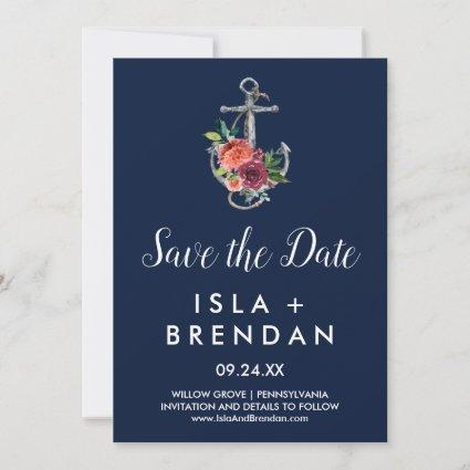 Floral Anchor | Navy Autumn Save the Date Card