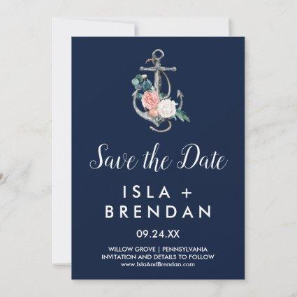 Floral Anchor | Navy Summer Save the Date Card