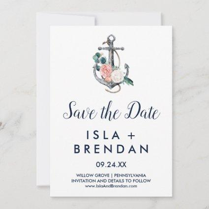 Floral Anchor | Summer Save the Date Card