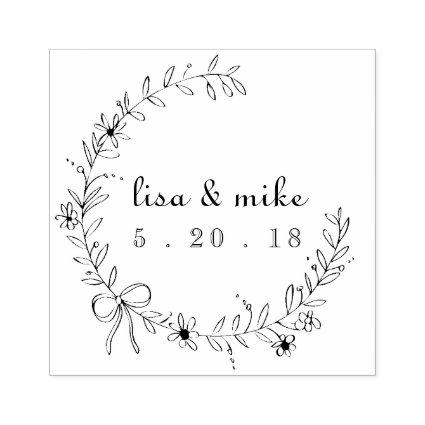 Floral and Bow Wreath Custom Couple Names Wedding Rubber Stamp