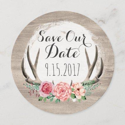Floral Antlers Rustic Wedding | Save The Date