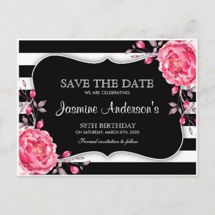 Floral Black White Striped Birthday  Announcements Cards